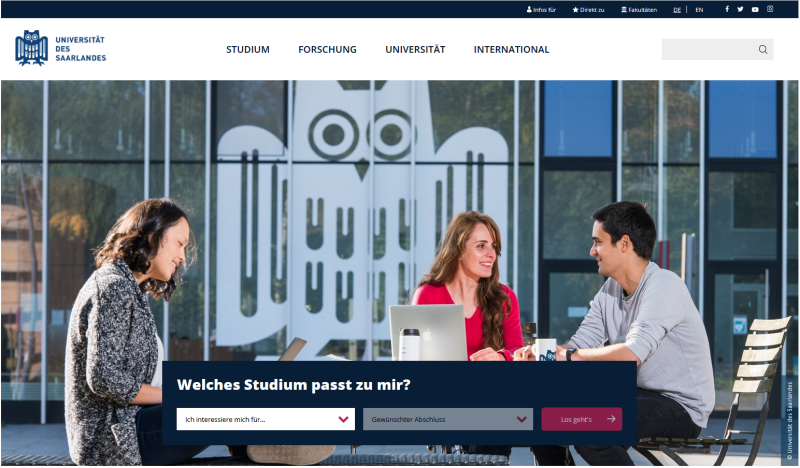 New website of the Saarland University online